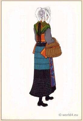 Traditional woman folk dress from Saint Jean d'Arves, Savoy France.