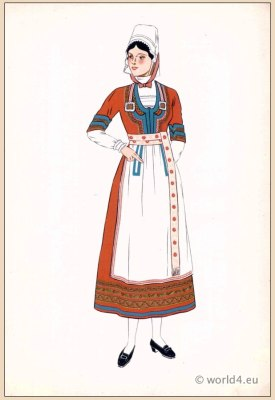 Traditional French national costumes. Woman folk dress from the Quimper Region, Brittany