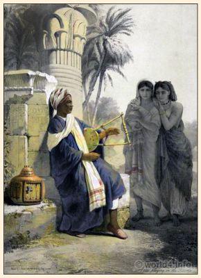 Arabian musician. Berber, Kissar. Egypt traditional costumes.