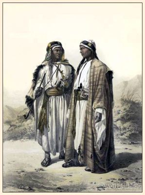 A Mahazi and a Soualeh Bedouin. Arab Bedouin costume. Middle East traditional clothing. Egyptian dresses.