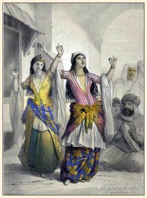 Egyptian Dancing Girls. Oriental clothing for women. Traditional Egypt costume. Arabian belly dance costume