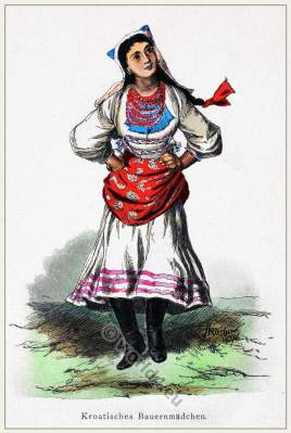 Croatian folk costume. Dancing girls dress