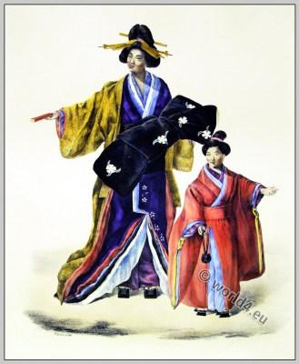 Japan costume. Antique Kimono. Traditional Japanese women clothing.