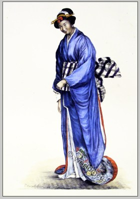 Japanese woman clothing. Traditional Geisha Costume.