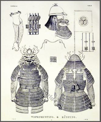 Japanese samurai armor with helmet, breastplate. Front and Back view.