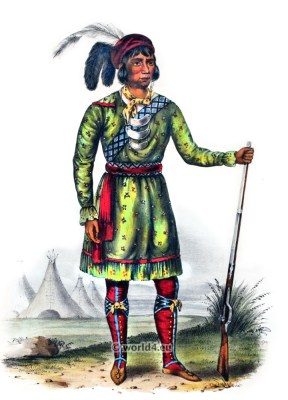 Osceola. Seminole Leader. American natives costumes. Indian Tribes. North America.