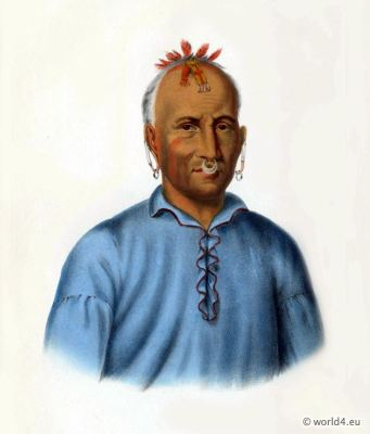 American natives costumes, illustrations and portraits. Indian Tribes of North America. Western Tribal warriors.