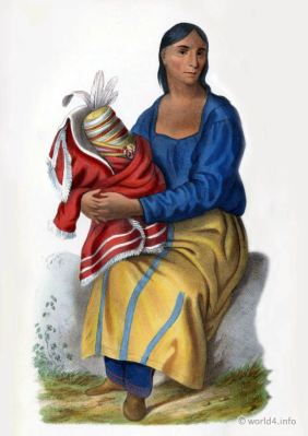 A Chippeway Woman. Indigenous American peoples. Native Americans costumes.