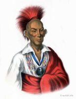 Ma-Ka-Tai-Me-She-Kia-Kiah, or Black Hawk, a Saukie brave. Indigenous American peoples. Native Americans costumes.