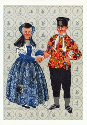 Dutch national costumes. Traditional Netherlands folk clothing.