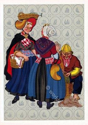Dutch national costumes. Traditional Netherlands folk clothing.