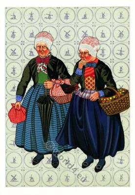 Dutch national costumes. Dutch Women`s folk dress.