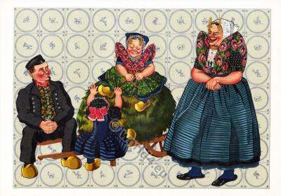 Netherlands traditional costumes. Women`s and mens clothing and Children's dress.
