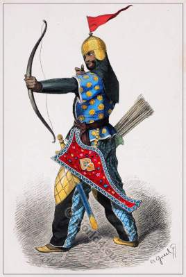 Middle ages Persian soldier costume. Asian army military dresses.
