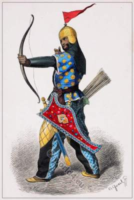 Persian archer costume. Persia soldier weapons. iran warrior. Middle ages Asia army dress. Franz Lipperheide.