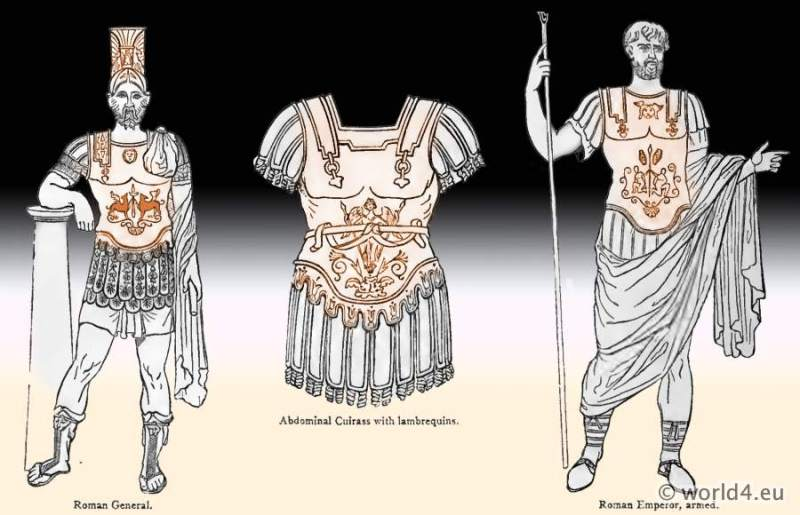 roman fashion history, soldier, military, emperor, ancient, roman, armor, cuirass, lambrequins, helmet