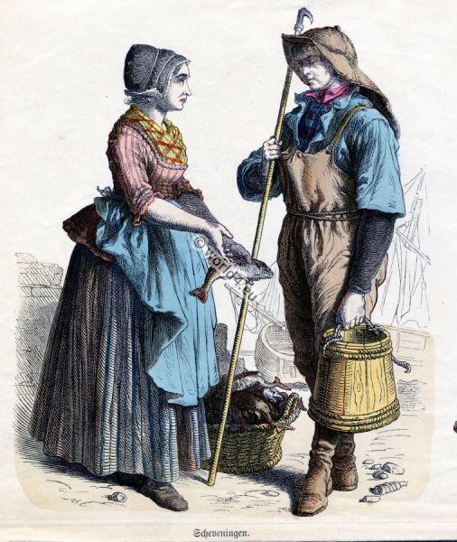 Scheveningen Costumes. Netherlands folk dresses. Traditional Dutch clothing