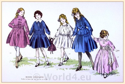 Chéruit Children clothing.  Fin de siècle fashion. Belle Epoque costumes. 1910s clothing