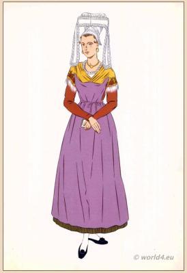 Traditional French costumes. Woman national folk clothing. Poichoir Fashion Print.