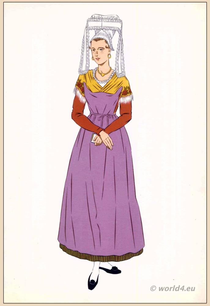 Isigny Sainte-Mère, traditional, French, France, national, costumes, dress, folk, clothing