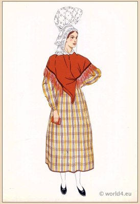 Traditional French Normandy Avranches costume. Woman national folk clothing. Poichoir Fashion Print.
