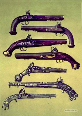 Pair of pistols which belonged to Emperor Napoleon I., Bonaparte. Sir Walter Scott's volunteer pistols. Pistol which belonged to Claverhouse. Old pistol by Champbell of Doune. Pistol which belonged to Sir Walter Scott.