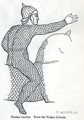 Ancient Dacian warrior on horse. Thracian Historical armour.