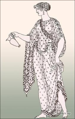 Ancient Greek Costume Ampechonion sleeveless chiton.