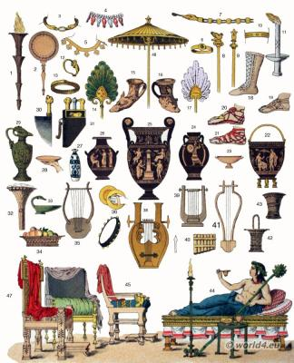 Ancient Greece Culture items. Musical Instruments, furniture, jewelry, Vases