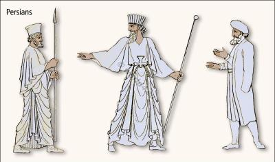 Ancient Persian costumes, head-dresses and clothing. Persian Warrior, King, Noble