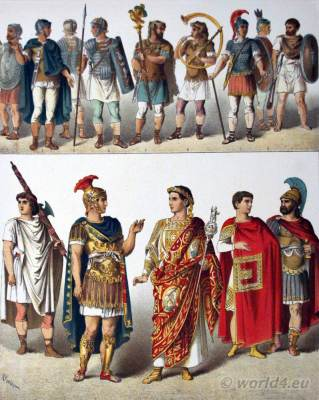 Ancient Roman Costumes. Magistrate, Officer, Triumpher, General, Lictor, Horn-blower, Chieftain, Roman soldiers, Standart - Bearer