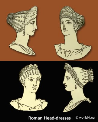 Ancient Roman Head coverings, head-dresses. Antique women hairstyle. The petasus. The pileus. The infula, or mitre.