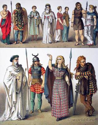 Ancient British, Gallic and Teutonic Costumes. Druid Priestly Costume Gaul Boadicea British Chietainess Costume
