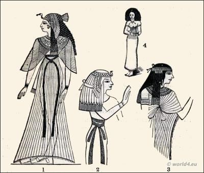Ancient Egypt costumes. The sash. Dresses of Egypt women.