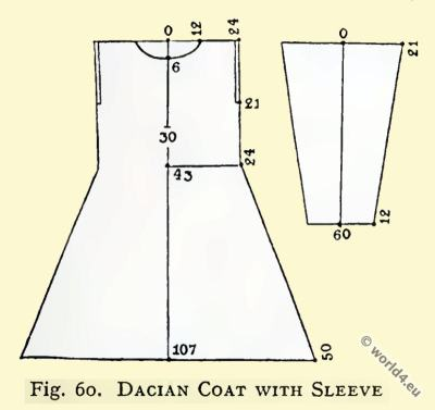 Ancient costumes. Dacian costumes. Dacian Coat with sleeve.