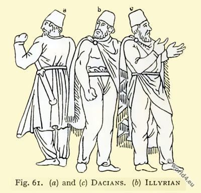 Ancient Illyrian costumes. Ancient Dacian costumes. Asian minor clothing.