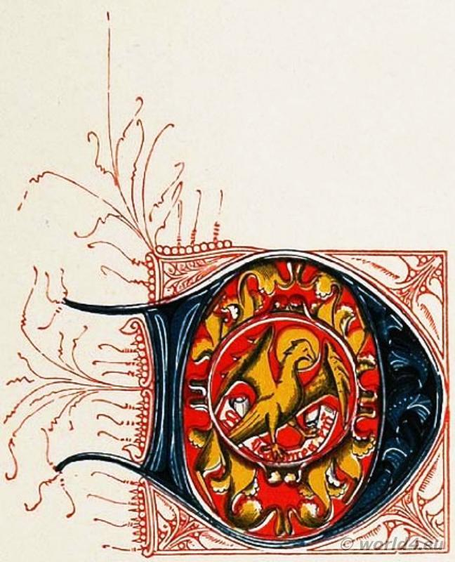 D Medieval initial letter, Middle ages book illustration