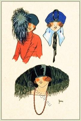 Jane Blanchot, Chapeaux, Art-deco, flapper, fashion, Très Parisien