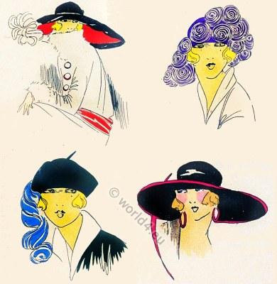 Chapeaux, Très Parisien, Art-deco, flapper, roaring twenties, fashion,