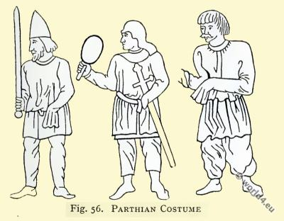 Ancient costumes. Parthian. Asian minor clothing.