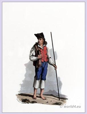 PEASANT OF TORRES VEDRAS. Traditional Portuguese national costumes. Peninsula war.