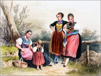 Turgovie, Argovie, Costumi nazionali svizzeri, Switzerland National Costumes, Suisse Costumes nationaux,
