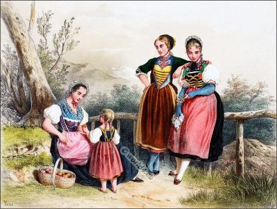 Traditional Switzerland national costumes. Swiss folk dresses. Clothing from Canton of Thurgau and Aargau