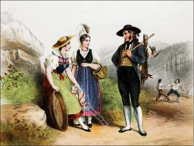 Traditional Switzerland national costumes. Swiss folk dresses. Clothing from the Canton of Lucerne and Schwyz.