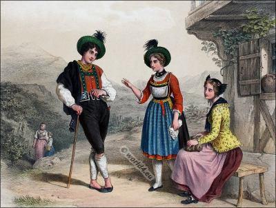 St. Galle, Grison, Costumi nazionali svizzeri, Switzerland National Costumes, Suisse Costumes nationaux,