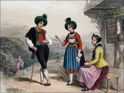 Traditional Switzerland national costumes. Swiss folk dresses. Clothing from Canton Canton Grison and Canton St. Galle