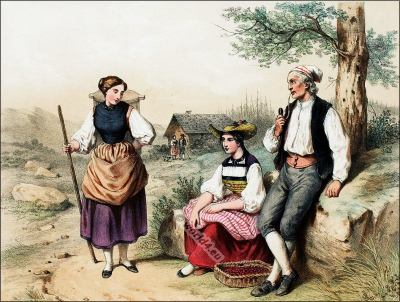 Traditional Switzerland national costumes. Swiss folk dresses. Clothing from Canton of Berne