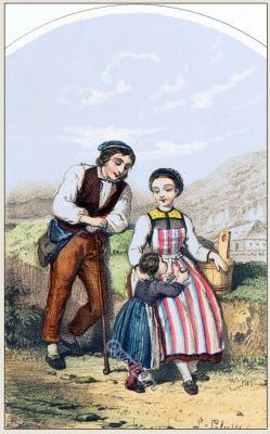 Fribourg folk dress. Traditional Switzerland costume.