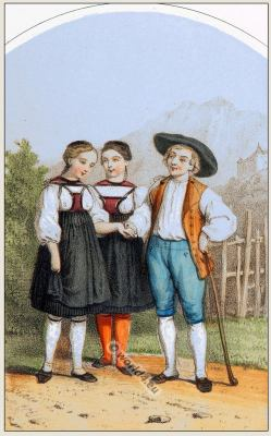 Traditional Switzerland costume. Bern Guggisberg folk clothing.