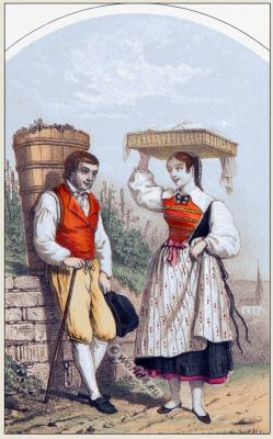 Traditional Switzerland national costumes. Swiss folk dresses. Clothing from Canton of Zurich